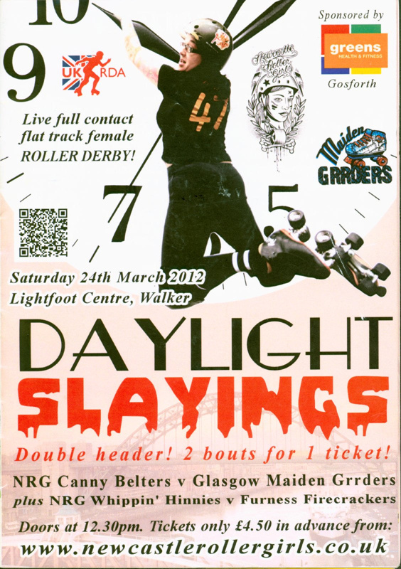 Programme cover for 'Daylight Slayings' roller derby double header