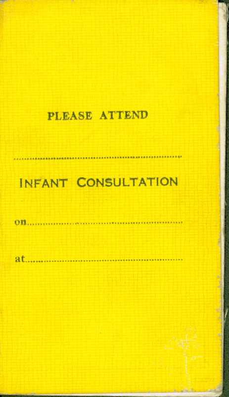 Front cover of infant medical record for Joseph Conway of Glasgow, 1952