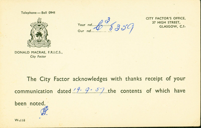 Receipt from the City Factor addressed to Mrs Joseph Conway, 1957
