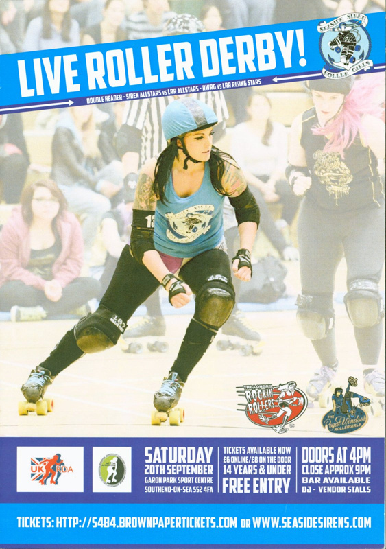 Cover of bout programme presented by Seaside Siren Roller Girls
