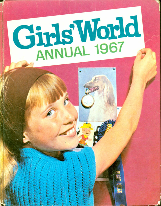 Front cover of Girls' World Annual 1967, featuring a young girl pinning pictures on a wall