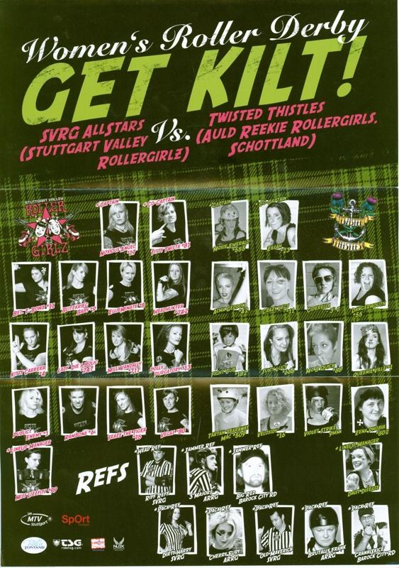 Foldout poster for 'Get Kilt!' roller derby featuring SVRG Allstars vs ARRG Twisted Thistles