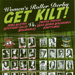 Foldout poster for 'Get Kilt!' roller derby featuring SVRG Allstars vs ARRG Twisted Thistles