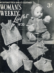 Knitting pattern: Doll's Clothes; Woman's Weekly Knitting Leaflet No. 30; GWL-2016-95-105