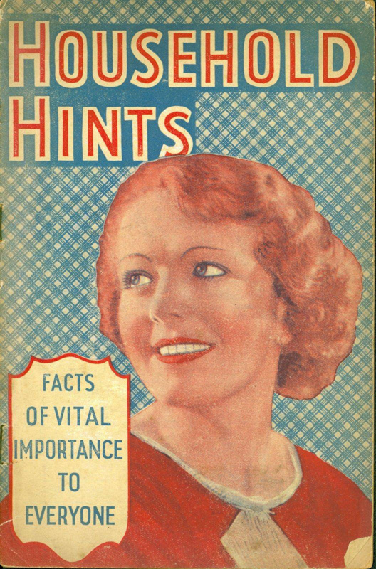 Front cover of booklet titled 'Household Hints', featuring a smiling woman
