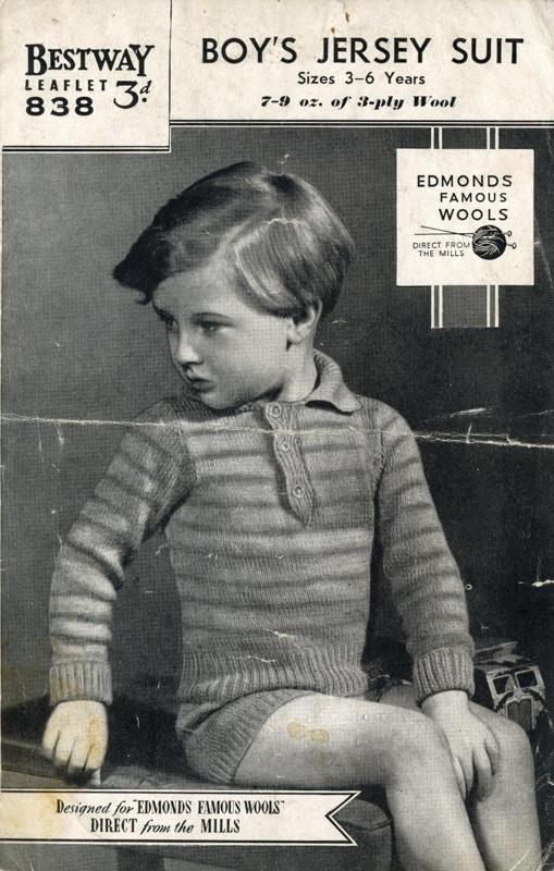 Knitting pattern: Boy's Jersey Suit; Bestway Leaflet No. 838; GWL-2015-34-4