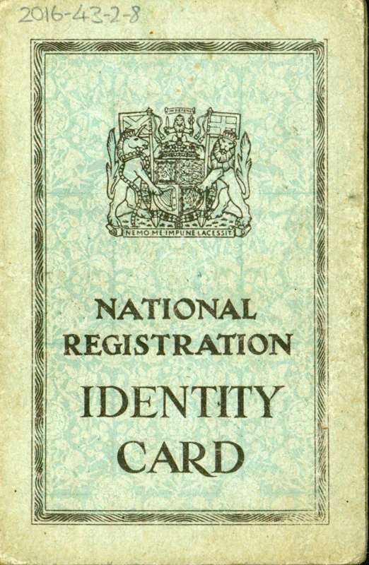 Front cover of National Registration ID card belonging to Agnes Conway, Glasgow