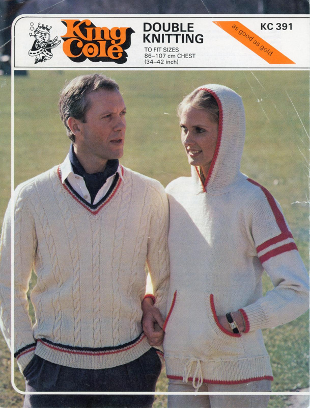 Knitting pattern: Hooded and Cricket Sweater; King Cole 391; GWL-2015-34-120