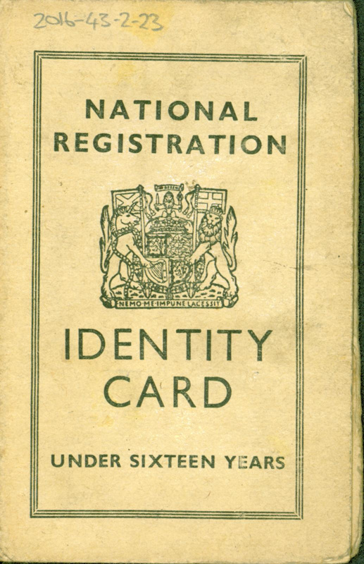 Front cover of juvenile national ID card belonging to Eileen Conway, Glasgow