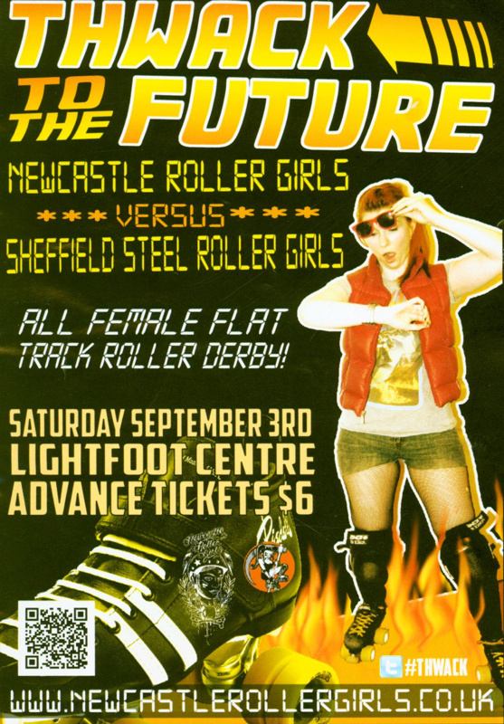 Programme cover for 'Thwack to the Future' presented by Newcastle Roller Girls