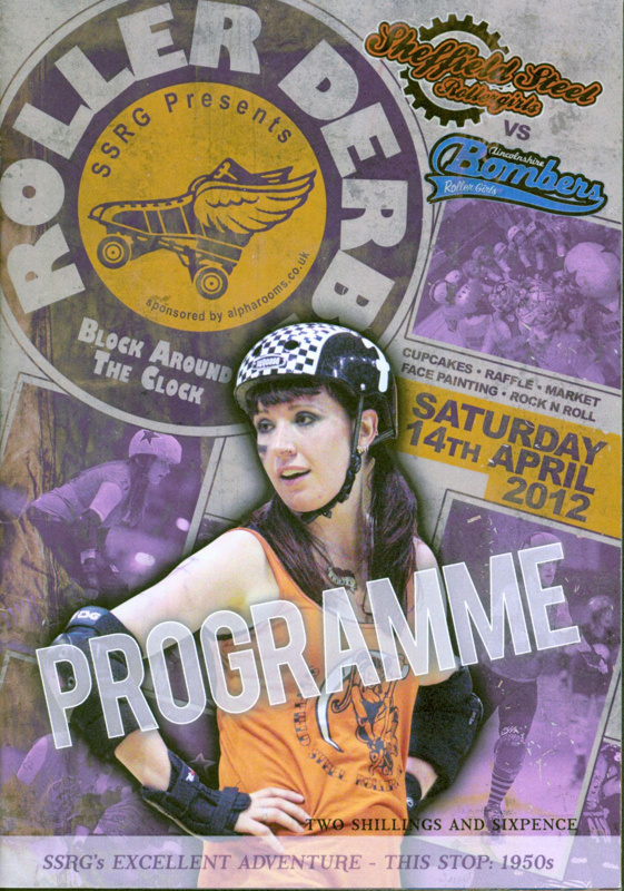 Programme cover for 'Block Around the Clock' presented by Sheffield Steel Roller Girls