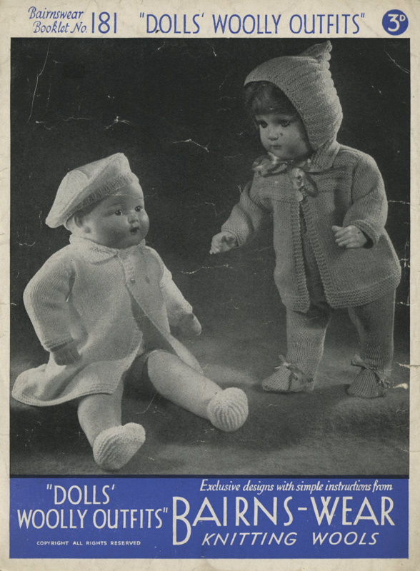 Knitting pattern: Doll's Woolly Outfits; Bairns-Wear Booklet No. 181; GWL-2016-95-96