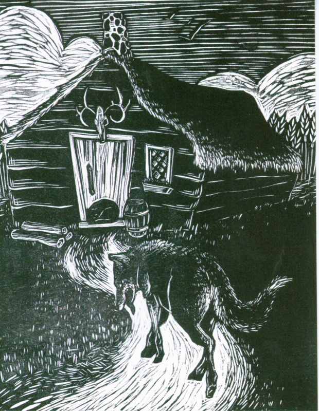 Postcard featuring 'Wolf Going to Grandma's House' by Normandie Syken