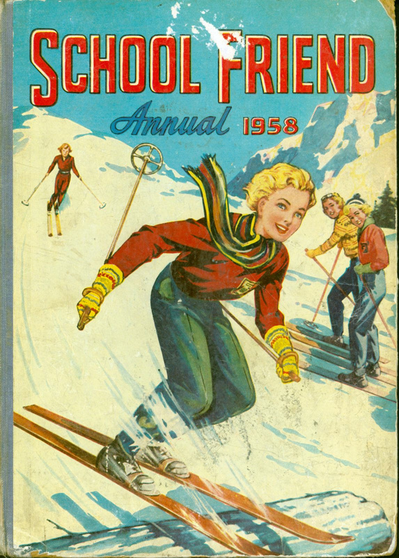 Front cover of School Friend Annual 1958, featuring a young woman skiiing.