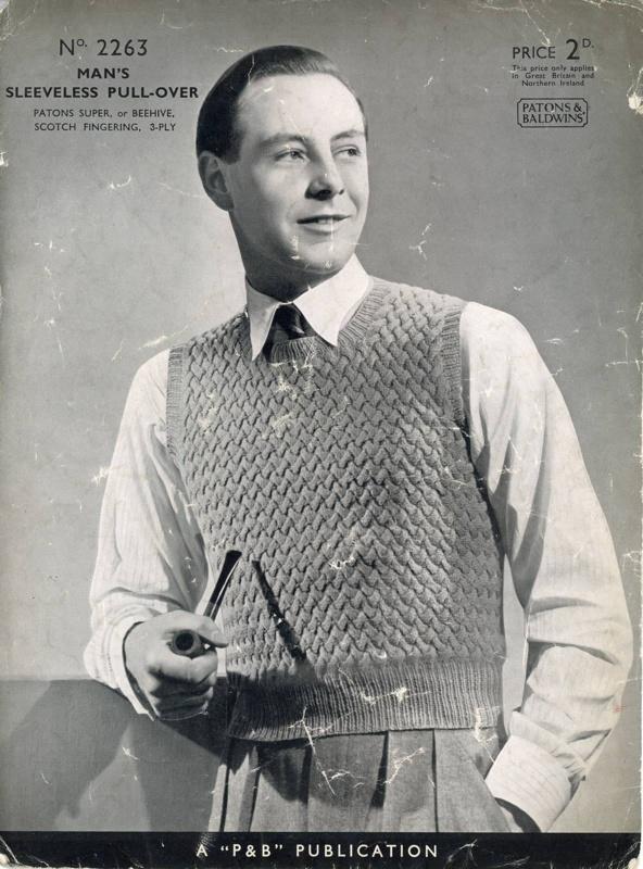 Knitting pattern: Man's Sleeveless Pullover; P&B Publication No. 2263; GWL-2015-34-24