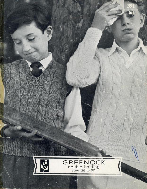 Knitting pattern: Boy's Cable Pullover; Greenock DK No. 391; Scotch Wool Shop; GWL-2015-34-21