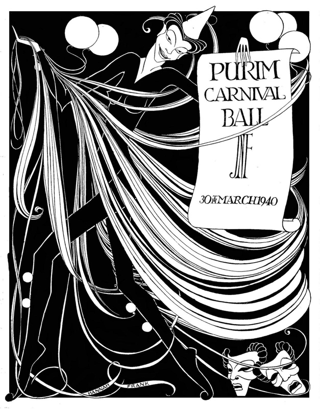 Monochromatic drawing titled 'Purim Carnival Ball' (1940) by Hannah Frank (1908-2008)