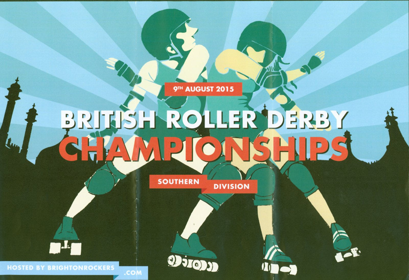 Poster for the British Roller Derby Championships 2015 featuring a stylised illustration of two players.