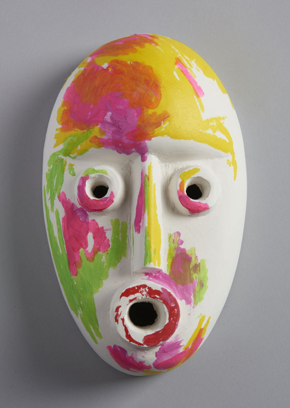 Plaster cast of of ceremonial mask with pearlescent paint, made by Ruth Barker (2018)