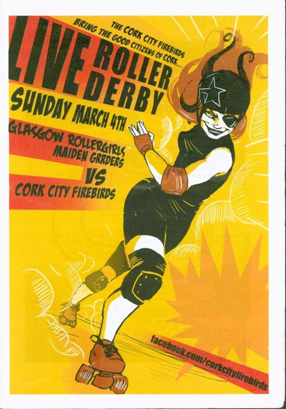 Roller derby programme cover for Cork City Firebirds vs GRR Maiden Grrders