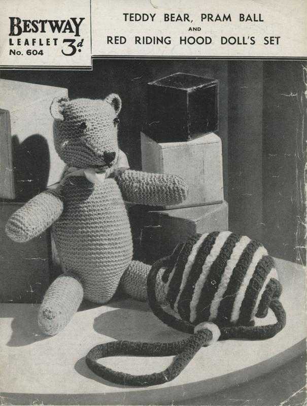Knitting patterns: Teddy Bear and Pram Ball; Bestway Leaflet No. 604; GWL-2016-95-7