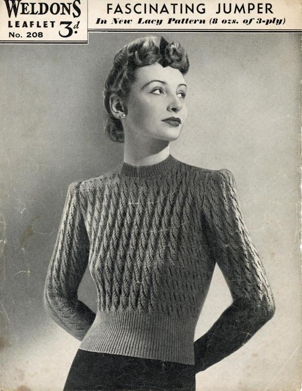 Knitting pattern: Fascinating Jumper; Weldons Leaflet No. 2018; 1940-41; GWL-2015-34-15