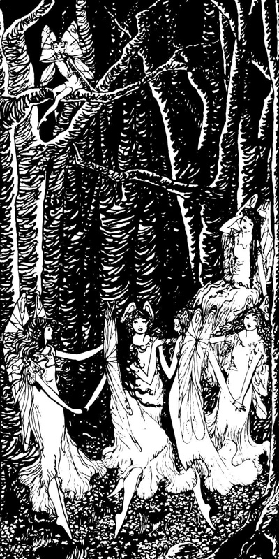 Monochromatic drawing titled 'Fairies in a Wood' (1925) by Hannah Frank (1908-2008)