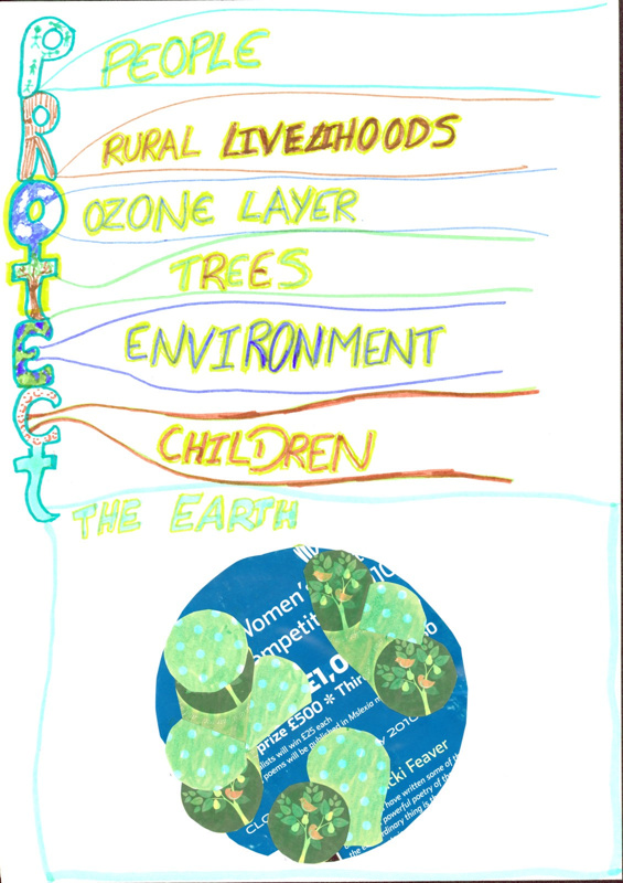 Women in the Landscape poster bearing the words P(eople), R(ural liveliehoods), O(zone layer), T(rees), E(nvironment), C(hildren), T(he Earth)