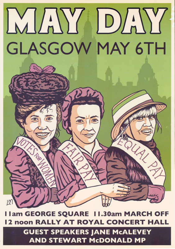 Poster featuring Suffragettes and promoting May Day events