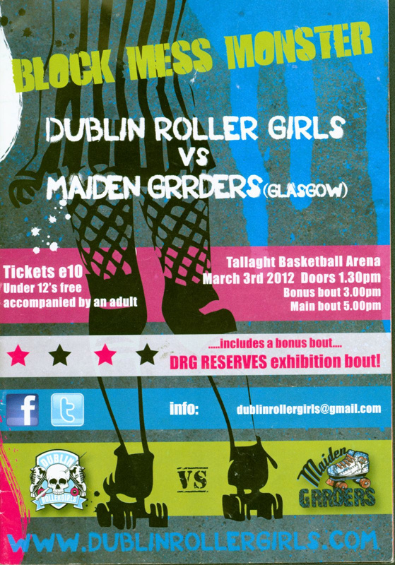 Programme cover for 'Block Mess Monster' featuring Dublin Roller Girls vs Maiden Grrders