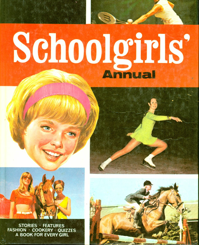 Front cover of Schoolgirls' Annual, featuring the face of a young woman and images of girls with horses, skating and playing tennis