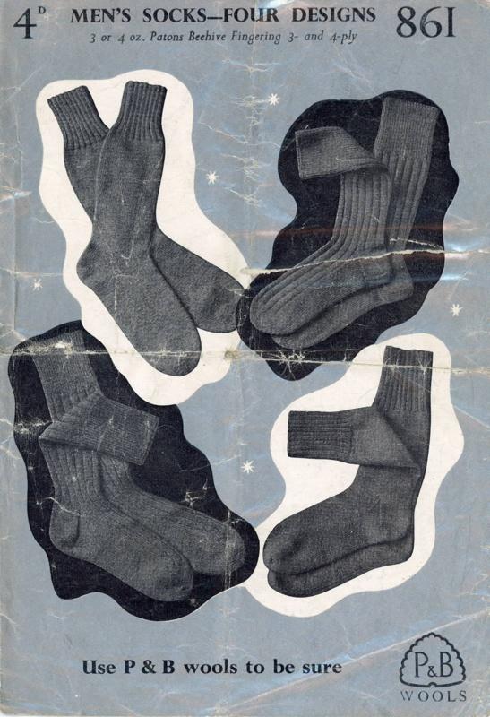 Knitting pattern: Men's Socks; P&B Wools No. 861; GWL-2015-34-43