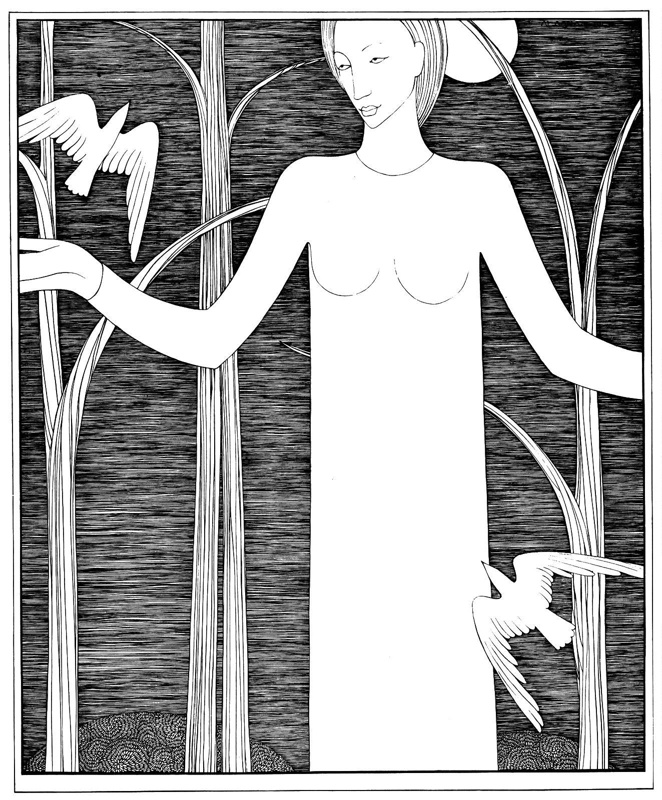 Monochromatic drawing titled 'Woman with Birds' (1947) by Hannah Frank (1908-2008)