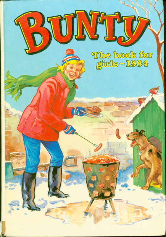Front cover of 'Bunty for Girls 1984' featuring Bunty cooking sausages over a brazier
