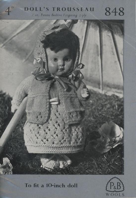 Knitting pattern (front): Doll's Trousseau; P&B Wools No. 848; GWL-2016-95-98