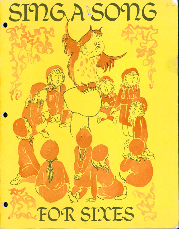 "Front cover of ""Sing A Song for Sixes"" featuring a group of Brownie Guides around a toadstool."