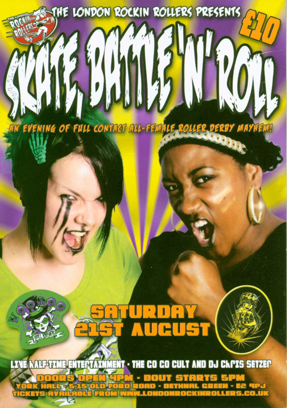 "Roller Derby bout flyers advertising ""Skate, Battle 'n' Roll"", presented by London Rockin' Rollers"