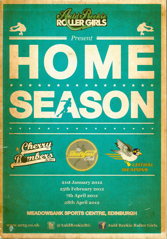 Front cover of programme for Auld Reekie Roller Girls Home Season