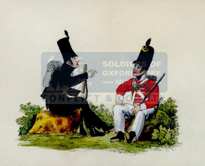Watercolour showing soldiers of the 95th and 43rd in Napoleonic uniforms; Unknown; 19th Century; OBLI:5144