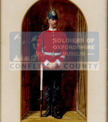 Watercolour painting showing a sentry of the 52nd Light Infantry in 1881; Richard Simkin; 1881; OBLI:5112