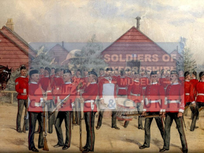 Painting showing the 52nd at Aldershot in 1880; Richard Simkin; 20th Century; OBLI:5118