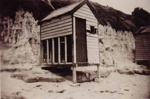 Bathing boxes on Hampton Beach.; 1947; P1401