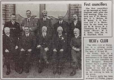 First councillors of the Borough of Sandringham.; 1917; P1943