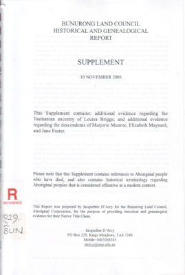 Historical and genealogical report. Supplement.; Bunurong Land Council; 2005; B0793